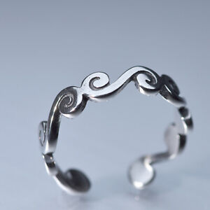 Silver pattern free size ring US 5 6 7 8 stainless steel unisex