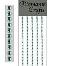 165 x 3mm Light Green Diamante Self Adhesive Strips Rows Rhinestone Craft Gems