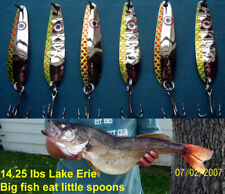 (6) Chartreuse Flash Trolling Flutter Spoons Lake Erie Walleye Candy
