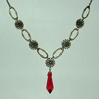 LOVELY FACETED RED GLASS PENDANT ANTIQUE GOLD PLATED FLOWER CHAIN NECKLACE FG