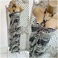 🌹 BOHO 🌹ANIMAL PRINT HALTER NECKLACE STRETCH EMPIRE MAXI DRESS UK 10