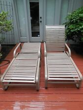 Vintage Mid Century Brown Jordan Outdoor 2 Chaise Lounges 1 Side Table 3 Pc.Set