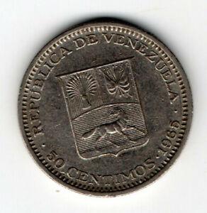 Venezuela 1965, Coat of arms, LIbertador Bolivar bust left flanked, 50 céntimos