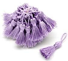 10 Stück Quasten Bommel Lavendel Lila Handarbeit 6 - 6,5 cm Gardine Mütze Schal
