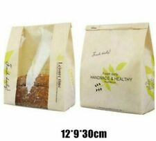 Bread Kraft Paper Bag For Packaging Bakery Supplies Pastry Bags 100pcs 30*12*9cm