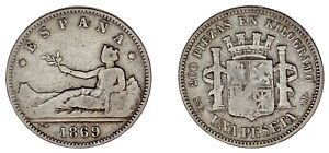 1 PESETA. Ag. PROVISIONAL GOVERNMENT - GOBIERNO PROVISIONAL. 1869. VF- / MBC-.