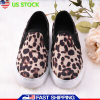 Women Leopard Canvas Shoes Plimsolls Flat Slip On Loafers Sneaker Students Shoes