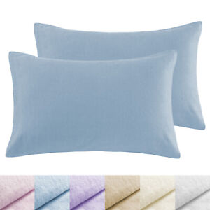 AMOS 100% Brushed Cotton Flannelette Bed Pillowcases Pillow Cases 48 x 74cm