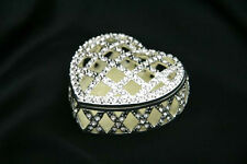 Silver plated Jewellery Trinket Box Made with Mother of Pearl Zircons Heart Shap