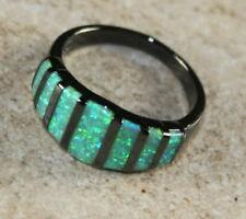 BLACK SILVER Elegant Green Fire Opal Ring Size 5, WR41503