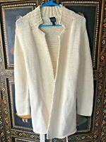 Eileen Fisher Open Front 100% Cotton Ivory  Cardigan Sweater Jacket Belted SZ S