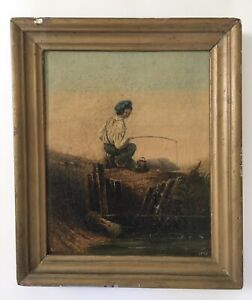 Antique 1839 Oil Painting Boy Fishing Scene Signed A.E.B.