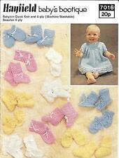 Hayfield 7016 Vintage Knitting Pattern Babys Bootique Full outfits 4 ply QK/DK