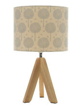 Tripod Wooden Lamp with Teal Tree Printed Shade House of Fraser Corina