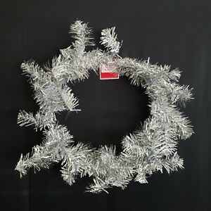 """Holiday Time Silver Tinsel Wreath 20"""" in Christmas Decor Crafts DIY Project Gift"""