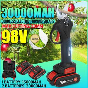 98V Akku Astschere Astschneider Rebschere Strauchschere Baumschere + 2x Batterie