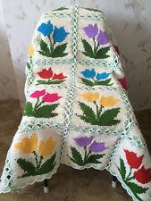 Granny Square Crochet Tulip Blanket...Baby Crochet Blanket.