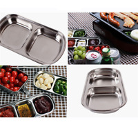 Stainless Steel Diet Tray Divided Food Snack Plate Infant Kids Small Size Tray Q