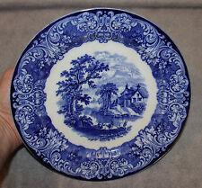 "FLOW BLUE ROYAL DOULTON GENEVA W/TWO GOATS 10 1/2"" PLATE BURSLEM ENGLAND 1890"