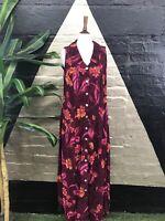 Original vintage 1990s Rayon  Floral Button Front Sleeveless Maxi Dress