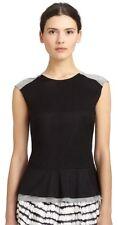 NWT Women's 10 Diane Von Furstenberg Carolyn 100% Cotton Peplum Top Black/Gray