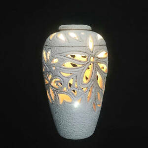 Carved Floral Ceramic Lamp | Housewarming Valentine's Wedding Mother's Day Gift