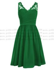 Short Chiffon Lace Prom Dress Party Cocktail Ball Bridesmaid Dresses Size 6-26