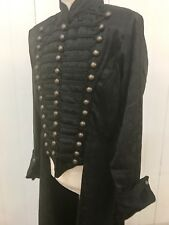Steampunk Heavy Gothic Raven Brocade Pirate Black Jacket  XL