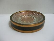 Coppercraft Guild Copper and Glass Ashtray with Leather Trim