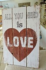 Shabby Holzbild Wandbild Deko Bild All You Need Is Love Herz 60 x 40cm Retro NEU