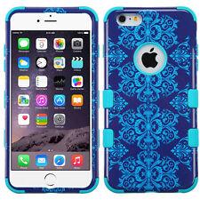 "New Tuff HYBRID Hard Case Cover Purple Blue Damask For Apple iPhone 6 PLUS 5.5"""