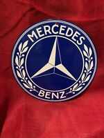 VINTAGE STYLE  PORCELAIN ''MERCEDES BENZ'' GAS & OIL PUMP PLATE 12 INCH  SIGN
