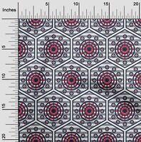 oneOone Popelina De Algodon Tela Raya, Hexagono Y Circulo Geometrico-qNL