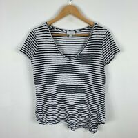 Witchery Linen Top Womens Size XS Black White Striped Short Sleeve V-Neck