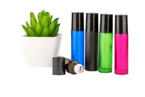 Roller Glass Bottles*5 x 10ml*Coloured*Metal Roller*Essential Oil*Aromatherapy