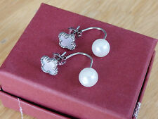 four leaf clover / flower white / pearl style  stainless steel earring