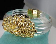 Vintage Huge INNA CYTRINE PARIS Clear Lucite 22k Vermeil Clamper Bangle Bracelet