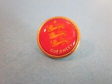 Metal & Enamel Pin Badge. Guernsey, red with three Lions. Good Used Condition