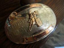 Vintage Comstock Desert German Silver Belt Buckle Hand Engraved Black Hills Gold