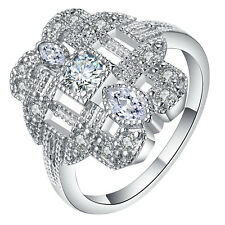 Women Jewelry 925 Silver White Topaz Wedding Vintage Prom Party Ring Size 6