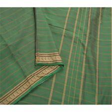 Sanskriti Vintage Green Saree Art Silk Woven Sari Craft 5 Yard Peacock Fabric