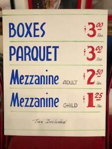 VINTAGE ORIGINAL CHICAGO STADIUM TICKET PRICE SIGN BOX SEATS PARQUET MEZZANINE