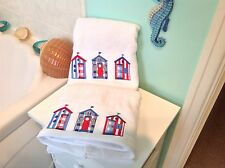 BEACH HUT TOWELS 1 BATH 1 HAND NAVY RED WHITE COTTON EXQUISITELY EMBROIDERED