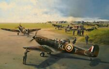 R Taylor Spitfire print Hornchurch Scramble signed by 9 Battle of Britain pilots