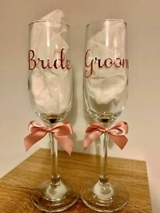 Bride & Groom Wedding Champagne Prosecco Flutes Rose Gold Wedding Gift