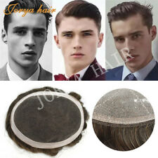 French Lace Mens Toupee Human Hair Replacement Poly Skin Hair System Unit