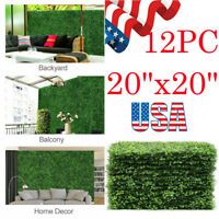 """12pcs Artificial Boxwood Mat Wall Hedge Decor Privacy Fence Panel Grass 20x20"""""""