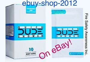 DUDE WIPES QUICK SHOWER Body Wipes 10 Pack Box Individually Wrapped 🚿🚒🚨$ALE!!
