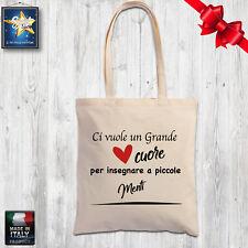 shopper borsa cotone MAESTRA NIDO MATERNA SCUOLA natale idea regalo fine anno