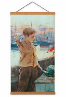 Adolfo Guiard Ships Boy Painting Harbour Child Canvas Wall Art Print Poster
